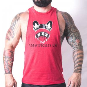 Bullywear Amsterdam Muscle Top T Shirt Red AMS1