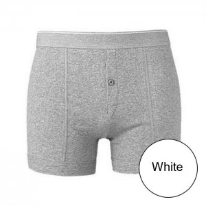 Minerva Classic Button Boxer Brief Underwear White 21300