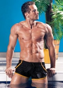 Alpha Male Piping Square Cut Trunk Swimwear Black/Gold IMAGO...