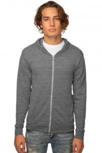Royal Apparel Unisex Eco Tri Jersey Full Zip Hoody Long Sleeved Sweater Eco Tri Grey 32550