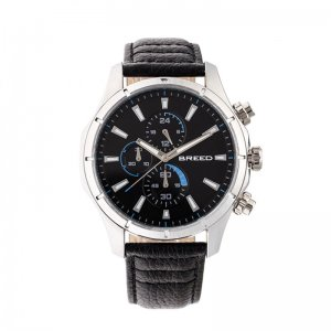 Breed Lacroix Chronograph Leather-Band Watch - Silver/Black ...