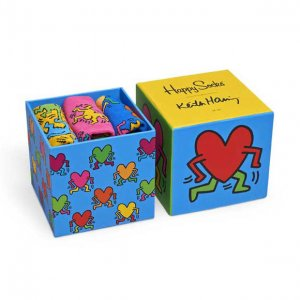 Happy Socks [3 Pack] Keith Haring Gift Box Socks XKEH08-4000...