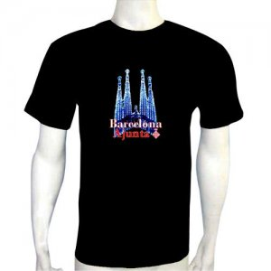 LED Electro Luminescence Barcelona Ajunta Funny Gadgets Rave Party Disco Light T Shirt 12073