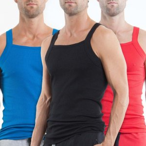 Papi [3 Pack] Premium Cotton Square Neck Tank Top T Shirt Black+Blue+Red 559102-999