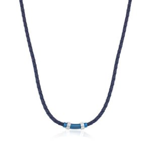 Italgem Steel Leather Necklace Blue