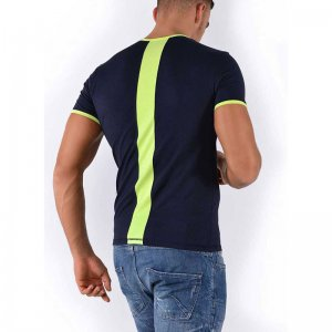 Roberto Lucca Slim Fit Back Stripe Short Sleeved T Shirt Deep Blue/Neon Yellow 80217-71800