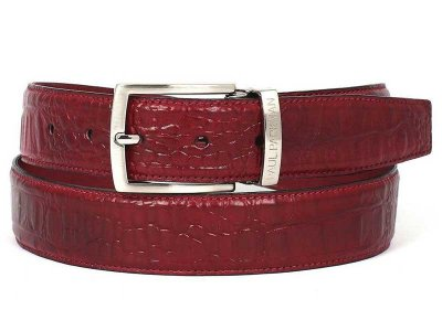 Paul Parkman Crocodile Embossed Calfskin Belt Burgundy B02-B...