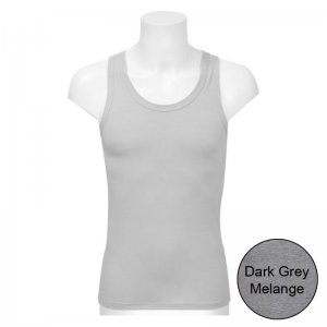 Minerva Sporties Basic Vest Muscle Top T Shirt Dark Grey Melange 10140