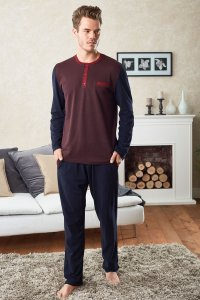 Doreanse Contrast Henley Long Sleeved T Shirt & Pants Set Lo...