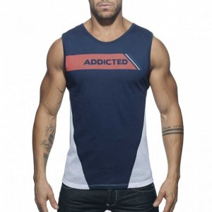 Addicted Cotton & Mesh Muscle Top T Shirt Navy AD630