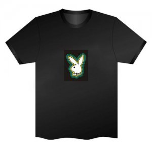 LED Electro Luminescence Bunny Funny Gadgets Rave Party Disco Light T Shirt Black 32027