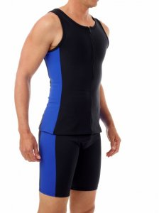 Underworks Shapewear Body Shaping Compression Tank Top Swimwear Black/Blue 918120
