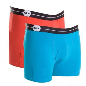 [2 Pack] Sly Underwear Boxer Brief Underwear Teal/Red BUTPR2