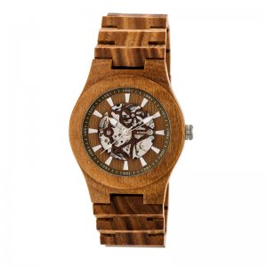 Earth Wood Gobi Automatic Skeleton Bracelet Watch - Olive ETHEW4304