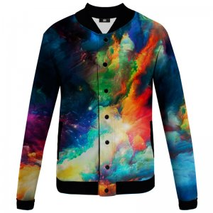Mr. Gugu & Miss Go Colorful Space Unisex Baseball Jacket BJCS1197