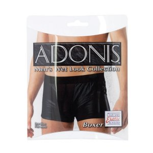 Adonis Wet Look See Thru Front Panel Boxer Brief Underwear Black SE4029-40