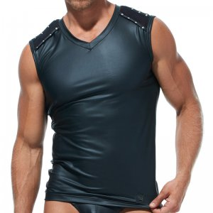 Gregg Homme SCORPIO Nailhead V Neck Muscle Top T Shirt Black...