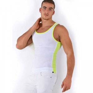Roberto Lucca Two Tone Tank Top T Shirt White/Neon Yellow 80002-71010