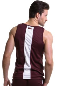 N2N Bodywear Sport Tank Top T Shirt Burgundy Maroon/White SP4