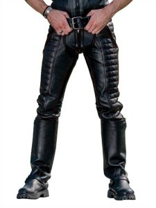 Mister B Piping Leather Indicator Jeans Pants Black 113100