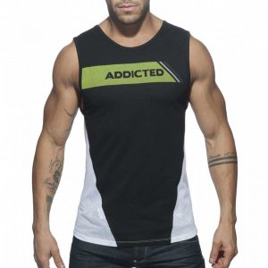 Addicted Cotton & Mesh Muscle Top T Shirt Black AD630