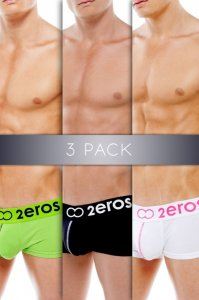 [3 Pairs] 2EROS Icon2 Boxer Brief Underwear Assorted Colors U03-07