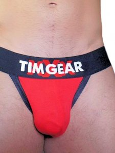 TIM Gear Contrast Trim Jock Strap Underwear Red