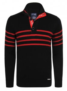 Giorgio Di Mare Jersey Long Sleeved Sweater Black/Red GI3980119