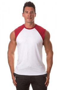 Bloke Undees Contrast Shoulder Muscle Top T Shirt White SRC-...