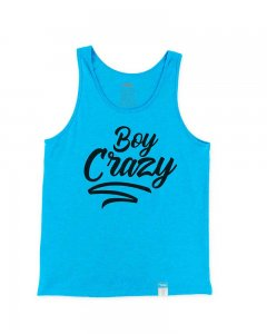 The Well Branded Boy Crazy Classix Tank Top T Shirt Neon Blue