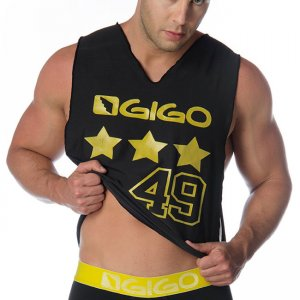 Gigo STAR BLACK Wide Tank Top T Shirt G10101