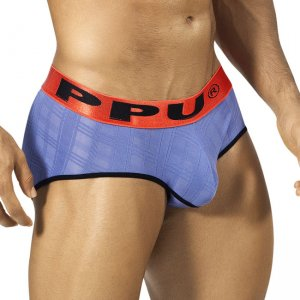 PPU Checker Semi Sheer Brief Underwear Lilac/Coral 1311