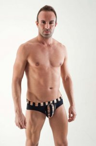 Geronimo Multicolour Stripe Pouch Brief Underwear Black 1354S2