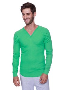 4-rth Thermal V Neck Long Sleeved T Shirt Bamboo Green