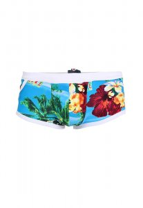Spy Henry Lau Hawaii Floral Pocket Square Cut Trunk Swimwear Blue SP788AA09YFEHK