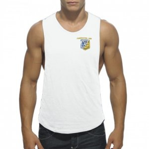 Addicted Badge Tank Top T Shirt White AD383