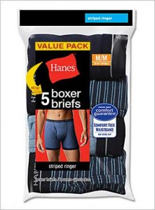 Hanes [5 Pack] Striped Ringer Boxer Brief Underwear Assorted...