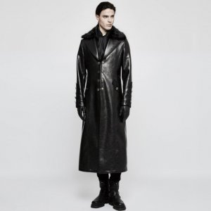 Punk Rave Time Line Agent Buttoned Fur & Leather Long Coat Black Y-818