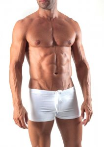 Geronimo Square Cut Trunk Swimwear White 1516B1-2