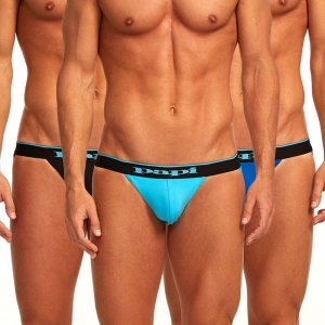 Papi [3 Pack] Cotton Stretch Jock Strap Underwear Blue 980911