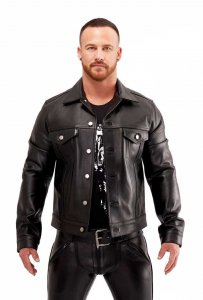 Mister B Leather Trucker Jacket Black 140310