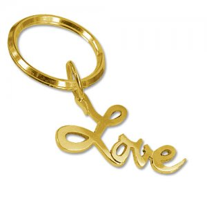 Personalized Men's Jewelry 18K Gold Plated Love Keychain 110...