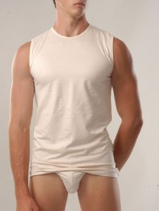 Geronimo Sleeveless Muscle Top T Shirt Beige 254