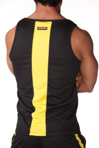 N2N Bodywear Sport Tank Top T Shirt Activewear Black/Yellow SP4_10