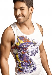 Clever Dragon Tank Top T Shirt White 7010