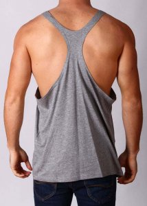 Gym Clothing Y Back Loose Weight Training Stringer Tank Top T Shirt Grey Marle
