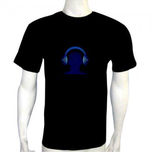 LED Electro Luminescence Headset Funny Gadgets Rave Party Disco Light T Shirt 12061
