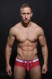 AMU Full Mesh Boxer Brief Underwear Red