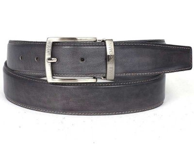 Paul Parkman Hand Painted Leather Belt Grey B01-GRAY