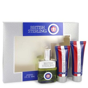 Dana British Sterling Cologne Spray 2.5oz/73.9mL + Body Wash 2.5oz/73.9mL + After Shave Balm 2oz/ 59.2mL Gift Set 542917